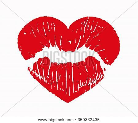 Imprint Of Red Lips In The Shape Of A Heart. Lipstick Red Stamp On A White Background. Lipstick Impr