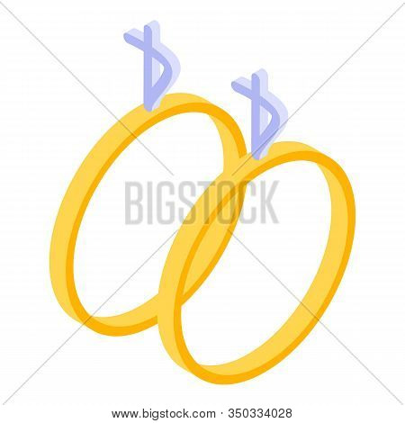 Married Couple Rings Icon. Isometric Of Married Couple Rings Vector Icon For Web Design Isolated On