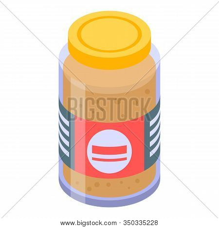 Mustard Jar Icon. Isometric Of Mustard Jar Vector Icon For Web Design Isolated On White Background