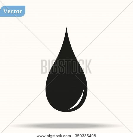 Black Icon Of Blood Drop In Flat Style Isolated On White Background. Vector Illustration Eps10