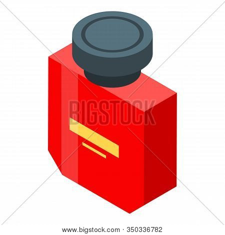 Red Fragrance Bottle Icon. Isometric Of Red Fragrance Bottle Vector Icon For Web Design Isolated On