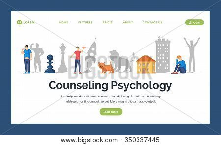 Counseling Psychology Flat Landing Page Template. Depression Treatment, Personal Growth, Personal Co
