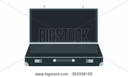 Open Empty Suitcase. Black Leather Briefcase With Metal Aluminum Corners For Transporting Money.bank