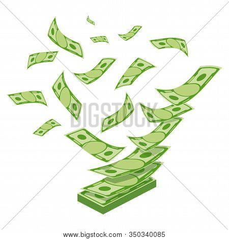 Money Falls From Above And Piles. Banknotes, Bills Fly, Gold Coins. Flat Vector Cartoon Money Illust