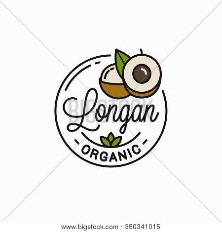 Longan Fruit Logo. Round Linear Of Longan Slice