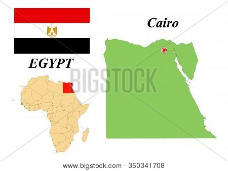 Arabian Republic Egypt. The Capital Is Cairo. Flag Of Egypt. Map Of The Continent Of Africa With Cou