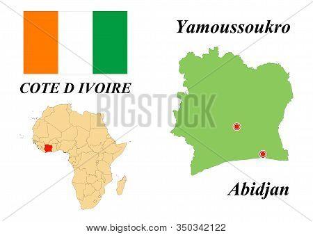 The Republic Of Ivory Coast. The Capital Of Yamoussoukro. Flag Of The Republic Of Ivory Coast. Map O
