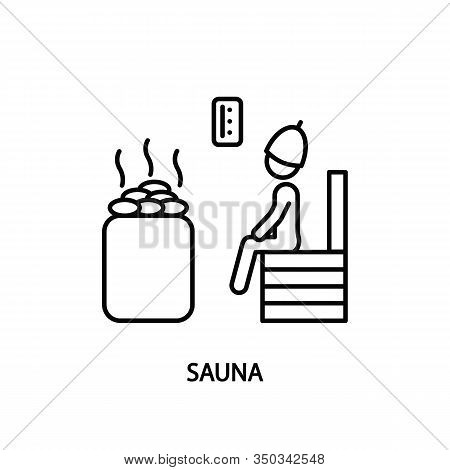 Human Figure Sitting In Steam Room Line Icon. Concept For Web Banners And Printed Materials