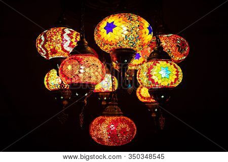 Traditional Turkish Mosaic Lamp Oriental At Night Macro