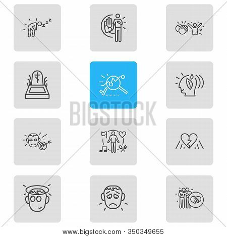 Vector Illustration Of 12 Emoticon Icons Line Style. Editable Set Of Behavior, Offence, Analysis And