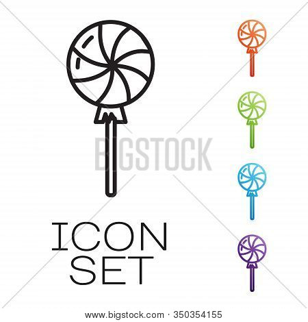 Black Line Lollipop Icon Isolated On White Background. Candy Sign. Food, Delicious Symbol. Set Icons