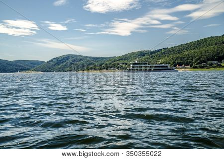 Beautiful Edersee With Passenger Ship In North Of Hessen In Germany