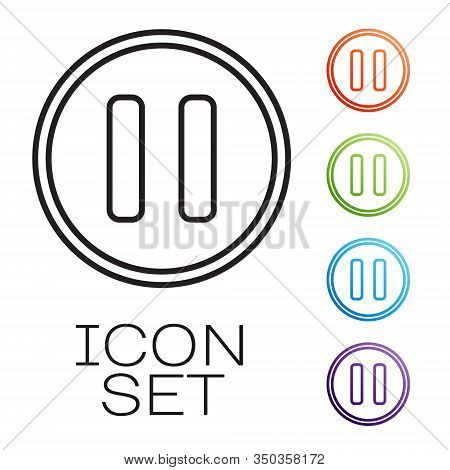Black Line Pause Button Icon Isolated On White Background. Set Icons Colorful. Vector Illustration