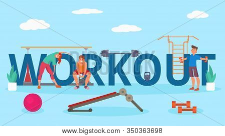 People At Workout Gym Body Training Vector Illustration. Workout Lettering. Happy Smiling Young Athl
