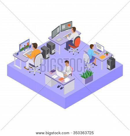 Office People Group Team In Workspace Vector Illustration Isometry. Open Space Office Room. Man Woma
