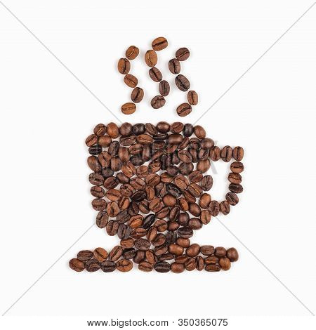 Set Of Roasted Coffee Beans Arranged In Coffee Cup Icon Shape On White Background. Coffee, Food Ingr
