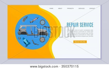 Car Repair Service Banner With Auto Parts, Wheels, Brakes And Auto Carcass Web Banner Vector Illustr