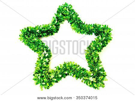Green Stars As Decorations On A White Background