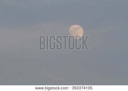 Full Moon During The Day Blue Sky