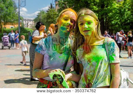 Novokuznetsk, Kemerovo Region, Russia - June 12, 2019 :: A Group Of Teenagers On The Festival Of Col
