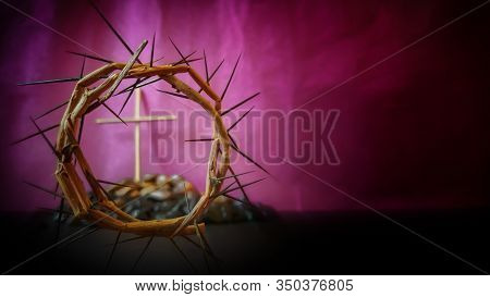 Lent Season,holy Week And Good Friday Concepts - Image Of Crown Of Thorns In Purple Vintage Backgrou
