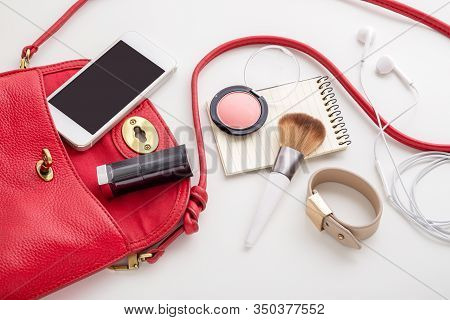 Red Leather Woman Bag With Cosmetic, Phone And Accessories