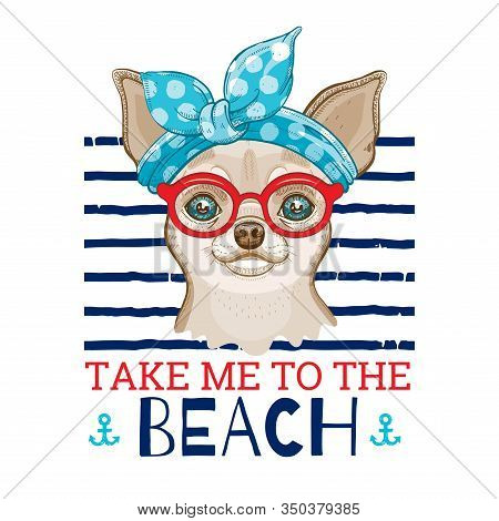Chihuahua Dog In Vintage Haiband Red Glasses. Cute Cartoon Trendy Puppy, Doggy Art For Girl T-shirt