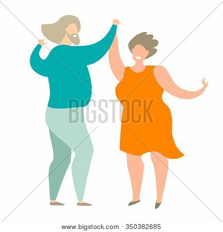 Elderly people dancing vector illustration. Happy man and woman dancing romance dance. Couple of seniors dancing character. Grandparents Day. Flat retro cartoon style, isolated on white background
