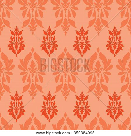 Vector Lush Lava Red Damask Or Paisley Seamless Pattern Background
