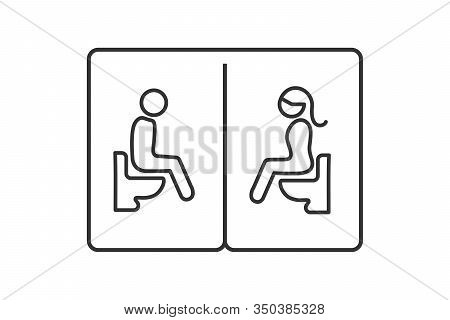 Toilet Sign Design. Black Outline Of Man And Woman Sitting With Water Closet Symbol Isolated On Whit