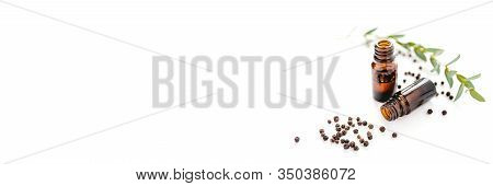 Black Pepper Essential Oil Isolated On White Background For Beauty, Skin Care, Wellness And Medicina