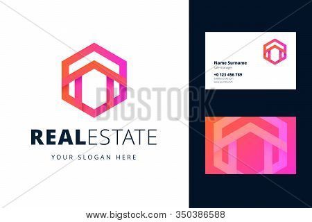 Real Estate Logo And Business Card Template. The Shape Of The House With A Roof In A Hexagon. Vector