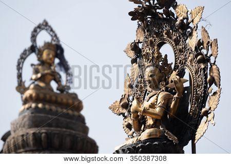 Kathmandu Nepal Buddha And Buddhism God Statue Decoration At Swayambhunath Temple