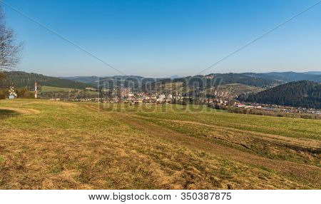 Turzovka Town With Hilly Surrounding In Slovakia During Springtime Morning With Clear Sky