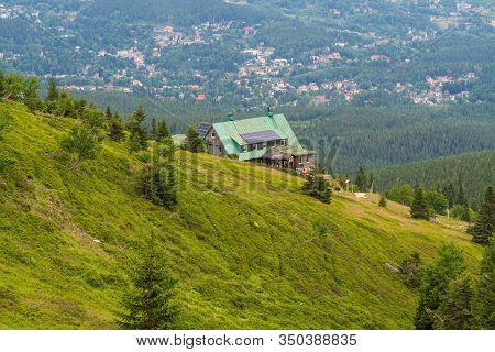 Schronisko Pod Labskym Szczytem Hut With Szklarska Poreba Town Bellow In Karkonosze Mountains In Pol