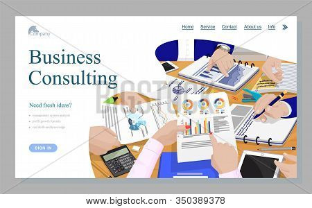 Business Consulting, Worker Hands And Paperwork View, Counting Finance, Graph Report. Management Sys