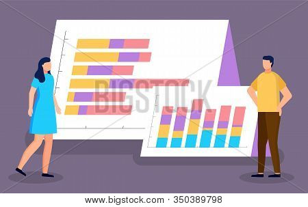 Business Graphics, Statistics And Analysis, Charts On Flipboards Vector. Business Team, Optimization