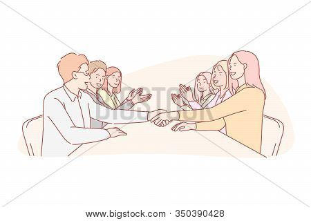 Business, Collaboration, Negotiation, Team, Agreement Concept. Businessmen And Women Collaboration,