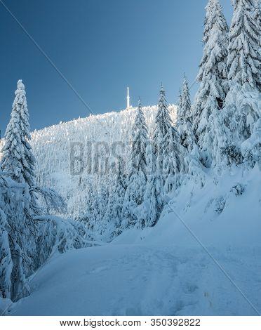 Frozen Lysa Hora Hill From Hiking Trail Above Malenovicky Kotel In Moravskoslezske Beskydy Mountains