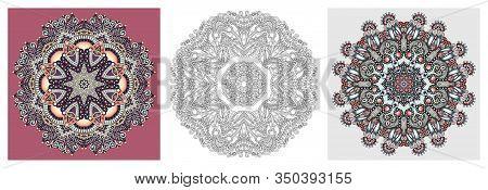 Set Of Mandala Circle Lace Ornament, Round Ornamental Geometric Doily Pattern In Indian Kalamkari St