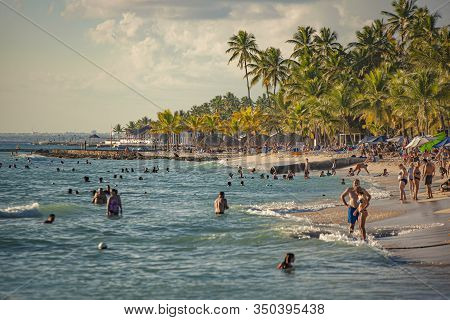 Dominicus Beach Full Of Tourists At Sunset 4
