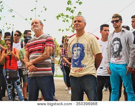 Santa Clara, Villa Clara / Cuba - May 10, 2017: Workers Of Uclv (university) Attending A Political A