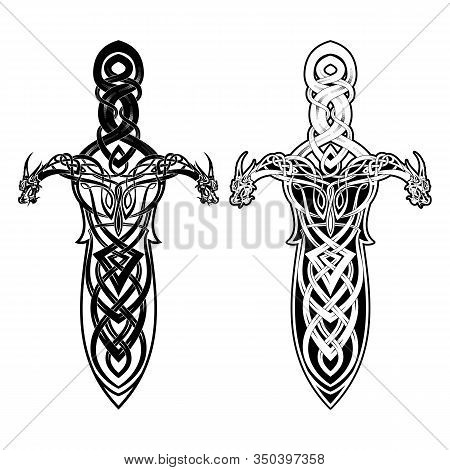 Vector Drawing Of A Magical Viking Sword. Blade Made Of Traditional Celtic Ornament. Sacred Weapon O