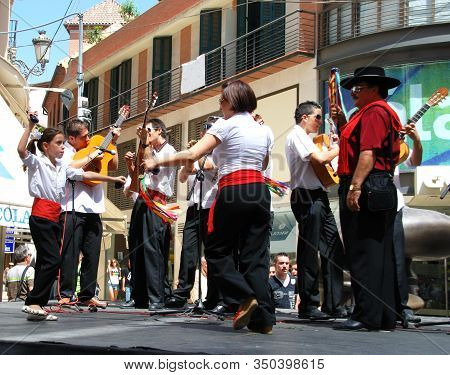 Malaga, Spain - August 18, 2008 - Traditional Dancing With Spanish Guitarists To The Rear At The Mal