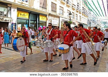Malaga, Spain - August 18, 2008 - Marching Band Along The Calle Marques De Larios During The Feria D