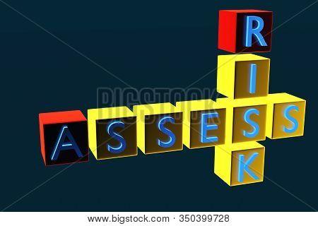 3d Assess Risk Crossword On White Backgound. Concept Of Assess And Risk. 3d Rendering