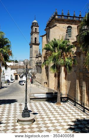 Jerez De La Frontera, Spain - August 20, 2008 - View Of San Salvador Cathedral And The Marques De Be