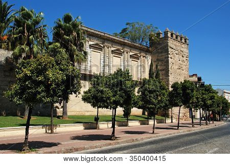 Jerez De La Frontera, Spain - August 20, 2008 - View Of The Castle Wall And Tower With Trees In The