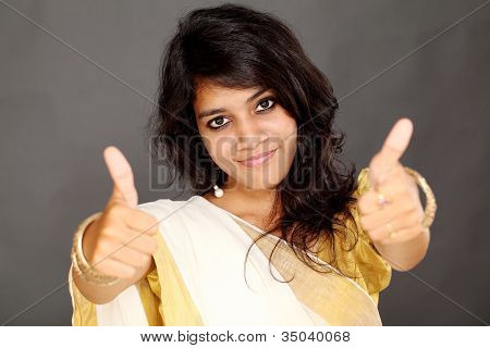 Woman With Thumbs Up Gesture