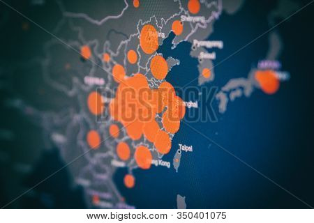 Infographic Of The Number Of People Infected With Covid-19 Coronavirus In China. Selective Focus. Ar